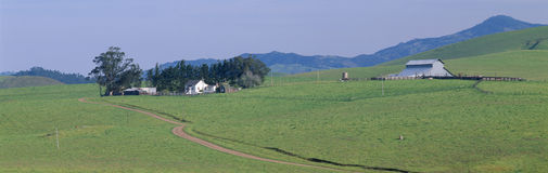 Обрабатывайте землю дом и амбар весной, направляет 1 около Cambria, Калифорнии Стоковые Фото