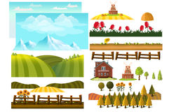 Обрабатывать землю infographic элементы с фермером, ферма, создатель ландшафта бесплатная иллюстрация