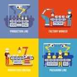 Обрабатывающая промышленность, производственная линия, установленные концепции вектора заводской рабочий плоские