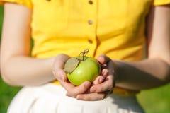 Обрабатывающ землю, садовничающ, жмущ и концепция людей - женщина вручает держать яблока Стоковые Изображения RF