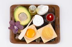 Обработка волос формулы с авокадоом, желтком и оливковым маслом Стоковые Изображения RF