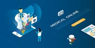 Обработка диагноза профессиональные доктор и встреча пациента онлайн на smartphone Стоковое фото RF