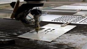 Обработка металла с водой Гидро истирательное вырезывание сток-видео