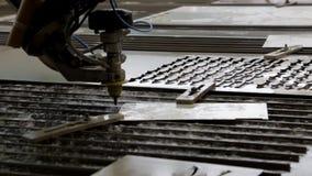 Обработка металла с водой Гидро истирательное вырезывание акции видеоматериалы