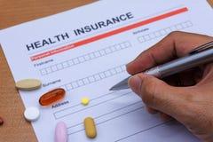 Обработка документов медицинской страховки, медицина, стетоскоп Insura здоровья Стоковая Фотография