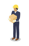 Обработчик груза в желтом шлеме с контейнером Стоковое Изображение