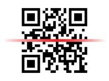 Образец кода Qr с красным блоком развертки лазера Стоковые Изображения