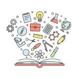 Образование и наука конспектируют пестротканую иллюстрацию вектора с книгой Стоковое Изображение RF
