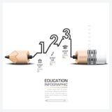 Образование и Infographic учить с высекают руководство карандаша шага Стоковые Изображения