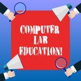 Образование лаборатории компьютера текста почерка Концепция знача комнату или космос оборудованный с пользой компьютеров в руках  бесплатная иллюстрация