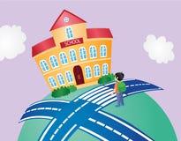 Образование назад к детям шаржа школы Стоковая Фотография RF