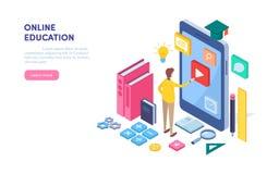 образование он-лайн Обучение по Интернету, курс, тренировка, векторная графика иллюстрации равновеликого мультфильма миниатюрная иллюстрация штока