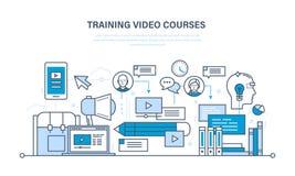 Образование, технологии обучения, удаленные онлайн видео- курсы, сообщения, программы тренировки иллюстрация штока