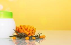 Образуйте крушину и опарник моря с сливк на абстрактном желтом цвете Стоковые Изображения