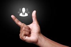 образуйте переговоры принципиальной схемы связи имея social людей средств Стоковые Изображения RF