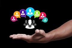 образуйте переговоры принципиальной схемы связи имея social людей средств Стоковое Фото