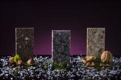 3 образца countertop кухни сделанного от камня гранита, мрамора и кварца Концепция встречной верхней части кухни стоковые фотографии rf