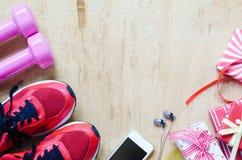 Образы жизни фитнеса, здоровых и активных представляют концепцию коробок, du Стоковое фото RF