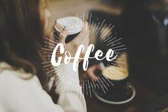 Образ жизни времени перерыва на чашку кофе ослабляет график слова стоковая фотография