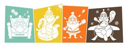 Образ жизни 4 сезонов Санта Клауса ретро Стоковая Фотография