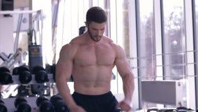 Образ жизни спорт, привлекательный мышечный спортсмен делает подогрев после тренировки в строя мышце в студии фитнеса сток-видео