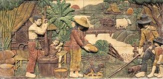 Образ жизни штукатурки Таиланда в прошлом Стоковое Изображение