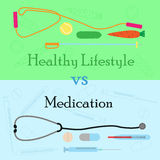 Образ жизни Healhy против лекарства Стоковые Изображения RF