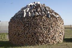 Образ штабелированный Woodpile круговой стоковая фотография rf