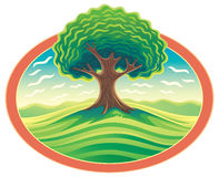 обрамите вал Ландшафт природы с деревом
