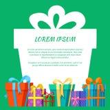 Обрамите с поздравительной открыткой подарочных коробок Стоковое Изображение