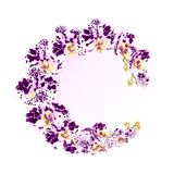 Обрамите фиолетовых орхидеи запятнанный фаленопсисом стержень тропических заводов и белых цветков зеленый и illustrati винтажного Стоковое Фото