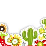 Обрамите шаблон на мексиканский традиционный праздник Cinco de Mayo Стоковая Фотография