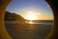 обрамленный заход солнца океана Стоковое фото RF
