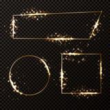 обрамляет золотистый комплект Стоковые Фотографии RF