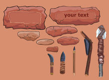 обрамляет примитивные каменные инструменты Стоковое Изображение