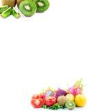 обрамляя различное плодоовощей бумажное Стоковая Фотография