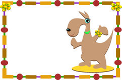 Обрамленный кенгуру с цветками Стоковая Фотография