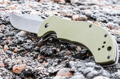 Обратная сторона ножа Ручка ножа на переднем плане Стоковое Изображение RF