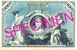 100 обратный банкноты 1908 reichsmark стоковые фото