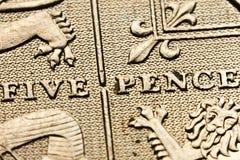 обратный пенни монетки 5 Стоковая Фотография
