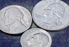 Обратный центов США монеток 25, 10 и 5 Стоковое Фото