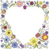 Обратный Doodle сердца с красочными цветками и надписью в векторе на белой предпосылке бесплатная иллюстрация