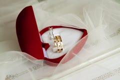 Обручальные кольца в красной коробке сердца в вуали Стоковая Фотография