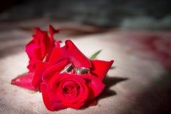 Обручальные кольца и букет красных роз, выборочный фокус, предпосылка любов свадьбы стоковое изображение