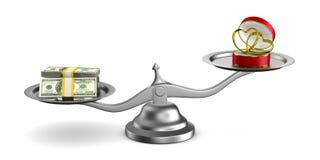 Обручальные кольца и деньги на масштабах Изолированная иллюстрация 3d Стоковое Изображение RF