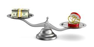 Обручальные кольца и деньги на масштабах Изолированная иллюстрация 3d Стоковые Фотографии RF