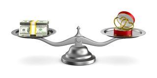 Обручальные кольца и деньги на масштабах Изолированная иллюстрация 3d Стоковая Фотография