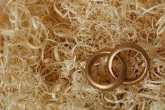 Обручальные кольца на деревянных щепках Стоковая Фотография RF