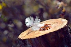 2 обручального кольца на деревянной поверхности с украшением пера Стоковое Изображение