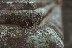 2 обручального кольца на камне Стоковая Фотография